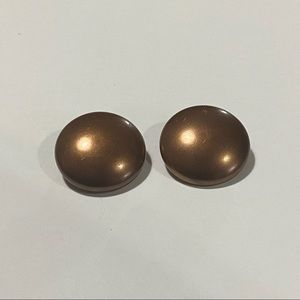 Vintage Clip On Round Bronze Color Earrings